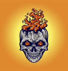 angry skull flame fire vector image