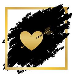 Arrow heart sign golden icon at black vector