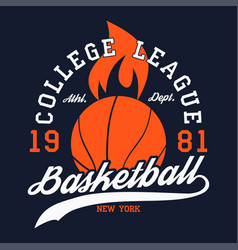 basketball sports apparel with fiery ball vector image