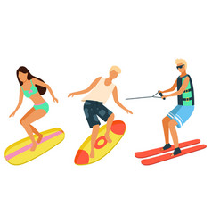 beach activities man and woman on surfboards vector image