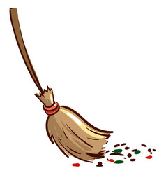 Broom sweeping dirt on white background vector