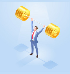 business men lifting weights vector image