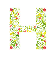capital letter h green floral alphabet element vector image