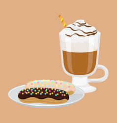 Cappuccino and sweet bakery vector