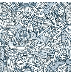 Cartoon hand-drawn doodles Vehicle theme vector image