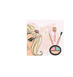 Cartoon make up kit vector