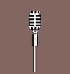 cartoon style vintage retro microphone mockup with vector image