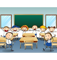 Children dancing inside the classroom vector image