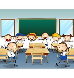 Children dancing inside the classroom vector image vector image