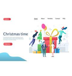 christmas time website landing page design vector image