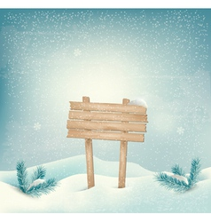 Christmas winter background with Wooden sign and vector