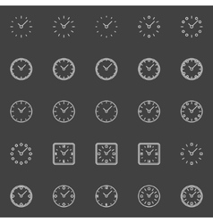 Clocks line icons vector image