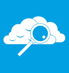 Cloud with magnifying glass icon white vector