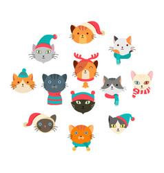 collection cute cat wearing many accessory in the vector image
