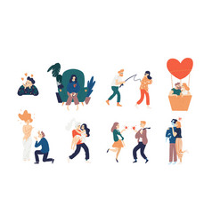 collection of love scenes - heartbroken woman vector image