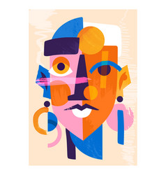 Colorful abstract female portrait on pastel yellow vector