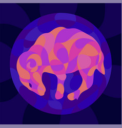 Colorful art with shiny neon colored ram vector