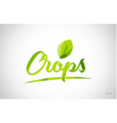 Crops green leaf word on white background vector