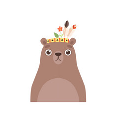 Cute bear animal wearing headdress with feathers vector