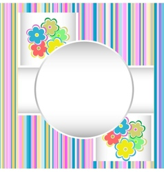 cute happy birthday card with flowers vector image