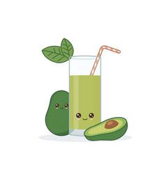 Cute kawaii smiling cartoon avocado juice vector
