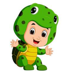 cute kids cartoon wearing turtle costume vector image