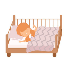 Cute red haired little girl sleeping sweetly in vector