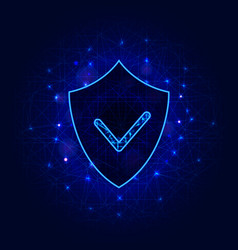 cyber security technology shield with check mark vector image