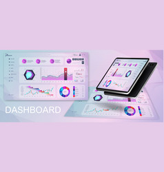 dashboard ui ux kit vector image