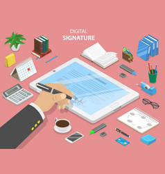 Digital signature flat isometric concept vector
