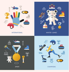 Digital winter games objects color vector