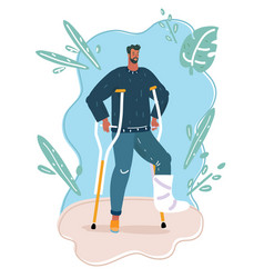 Disabled man on crutches with text vector
