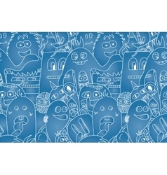 Doodle monsters seamless pattern vector image