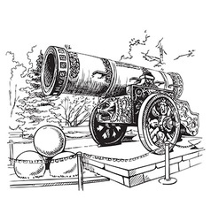 Drawing Tsar Cannon Moscow vector