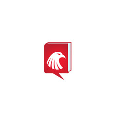 Eagle head inside a chat book icon logo vector