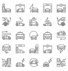 electric vehicle outline icons set ev vector image