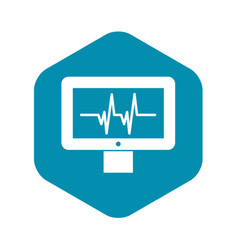Electrocardiogram monitor icon simple style vector
