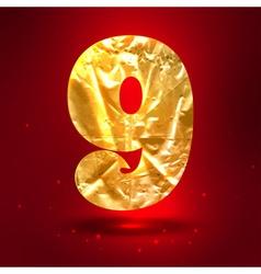 figure 9 made golden crumpled foil vector image