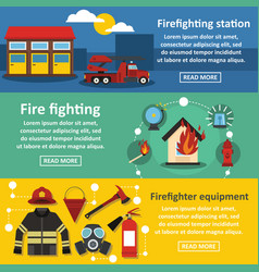 Firefighting banner horizontal set flat style vector