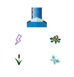 Flat icon ecology set of cattail cascade berry vector