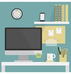 Flat office interior with desk and monitor vector