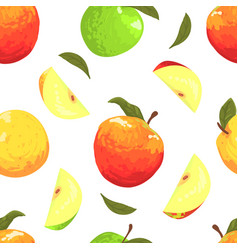 fresh apples seamless pattern freshly harvested vector image