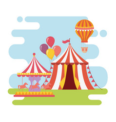 fun fair carnival carousel tent hot air balloon vector image