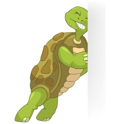 Funny Turtle Pushing vector