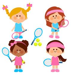 Girl tennis players vector