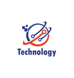 globe conect technology logo vector image