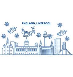 Great britain liverpool winter city skyline vector