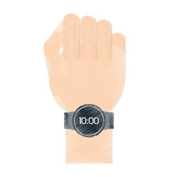 hand digital smart watch wearable technology vector image