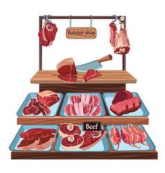 Hand drawn butcher shop concept vector