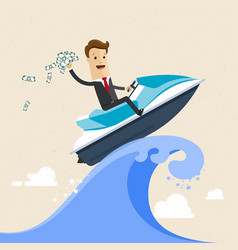 happy successful businessman surfing on the jet vector image